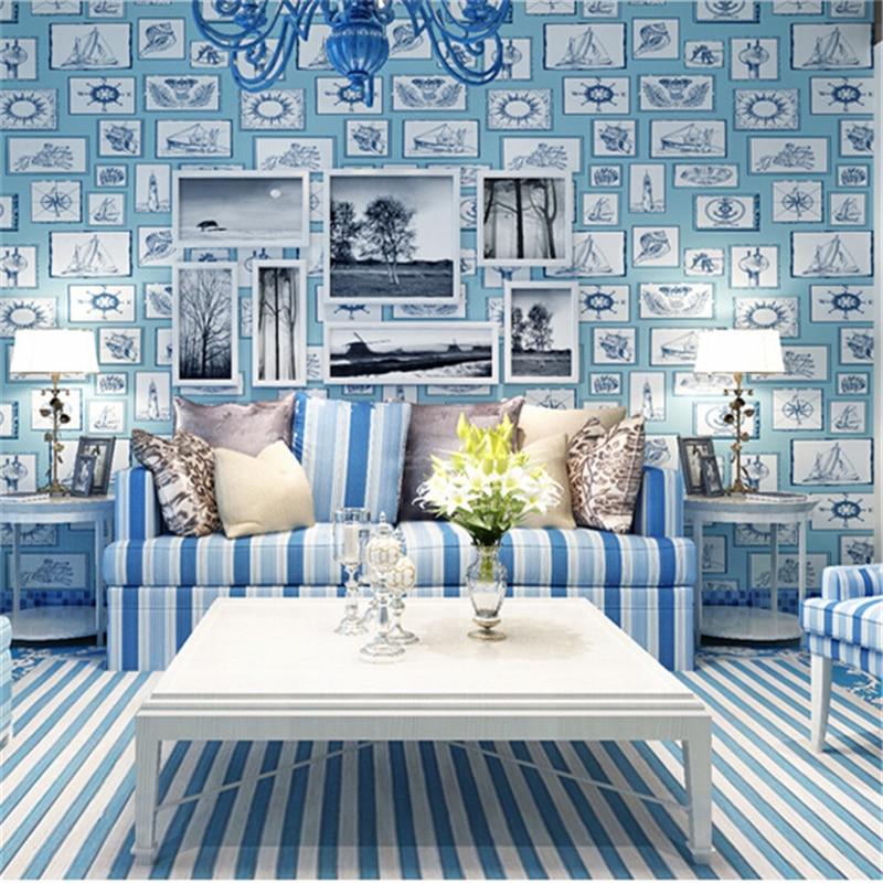 beibehang Mediterranean cartoon children 's room sailing wallpaper non - woven living room kindergarten bedroom wallpaper