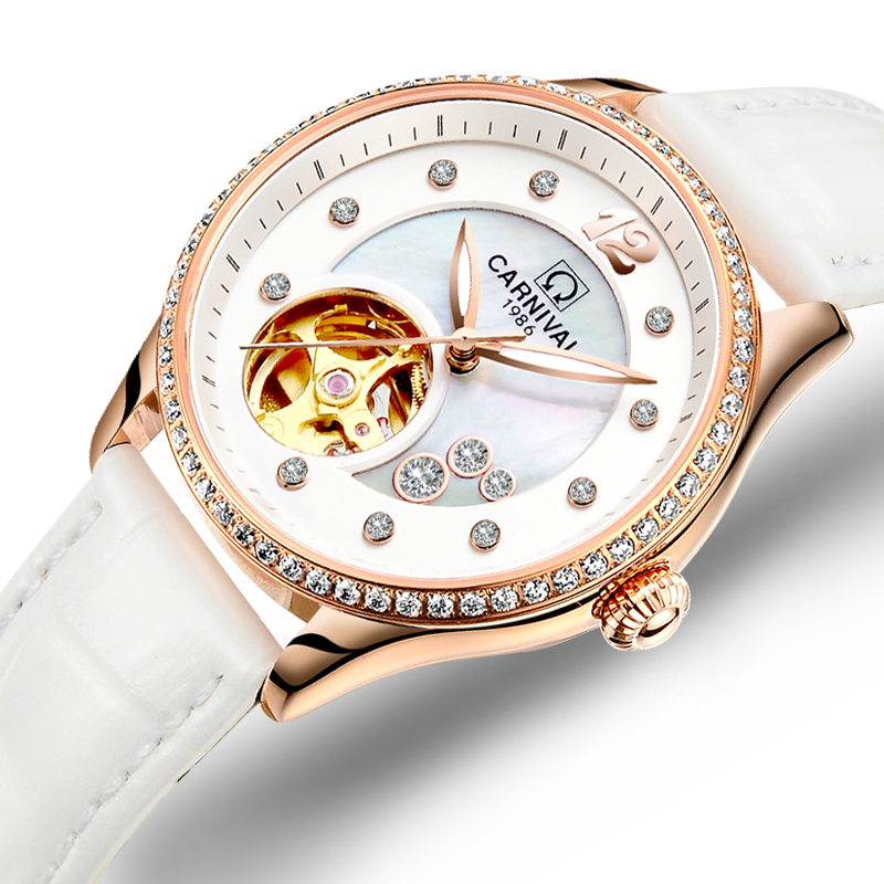 Switzerland Carnival Women Watches Luxury Brand ladies Automatic Mechanical Watch Women Waterproof relogio feminino C0682-2 luxury brand carnival women watches ladies automatic mechanical watch women sapphire waterproof relogio feminino clock c8789l 2