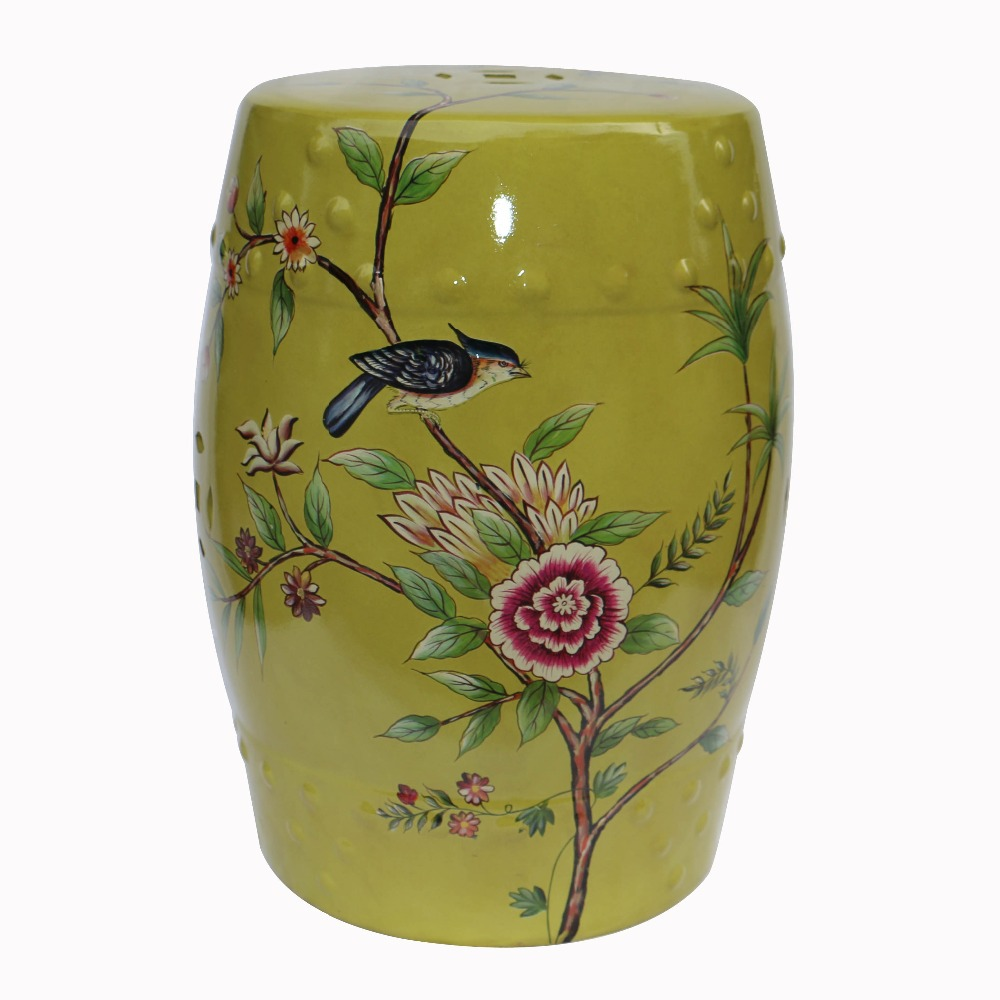 Chinese Flower and Bird Pattern Ceramic Porcelain Stool For Home Decoration