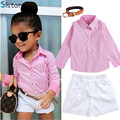 Baby Girls Clothing Child Summer Clothes Suit shirt + shorts + belt 3pcs/set pink striped shirt fashion Kids suit Free shipping