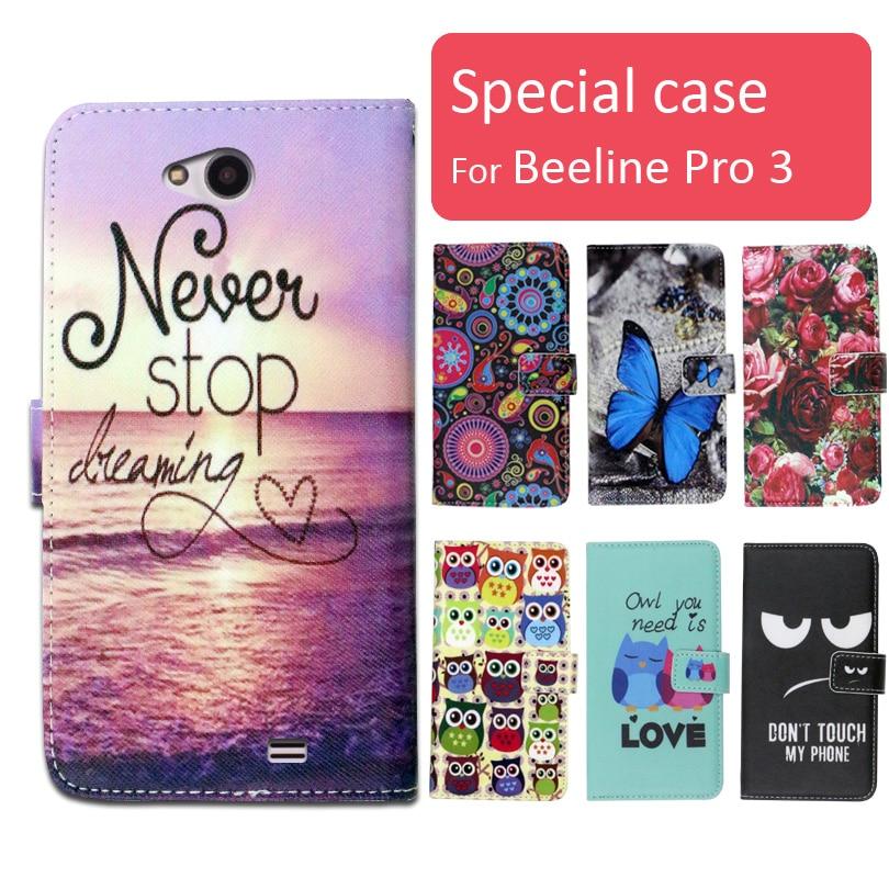 Мода мультфильм печатных флип бумажник кожаный чехол для Beeline Pro 3 с Слот Для Карты телефон мешок книга случае, подарок