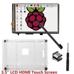 3.5 شاشة lcd hdmi usb اللمس 320x480 إلى 1920x1080 lcd عرض الصوت مع حالة واضحة ل التوت pi 3 بي 2 (مسرحية لعبة فيديو)