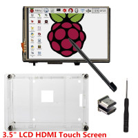 3.5 LCD HDMI USB Touch Screen 320x480 to 1920x1080 LCD Display Audio with clear case for Raspberry Pi 3 Pi 2(Play Game Video)