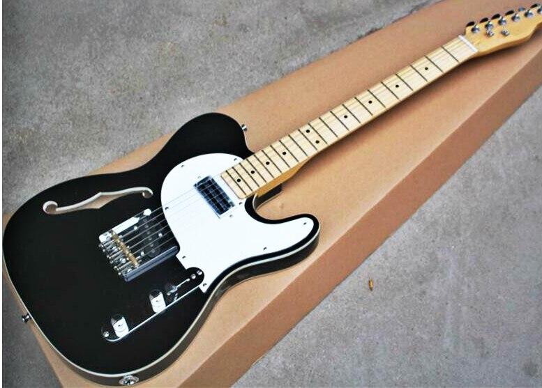 top quality fdtl 2015 black color white plate f hollow body maple fretboard tl electric guitar. Black Bedroom Furniture Sets. Home Design Ideas