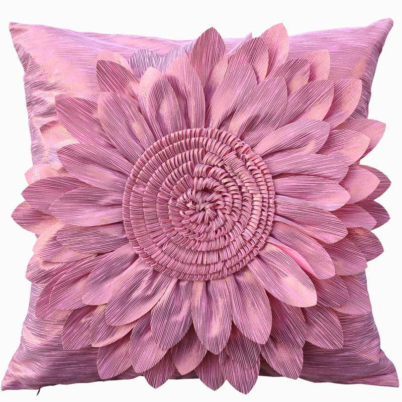 Pink Luxury Square Decorative Cushion Cover For Sofa,45cm*45cm,Thick Handmade Sun Flower Cushion Cover,Throw Pillow Case Cover