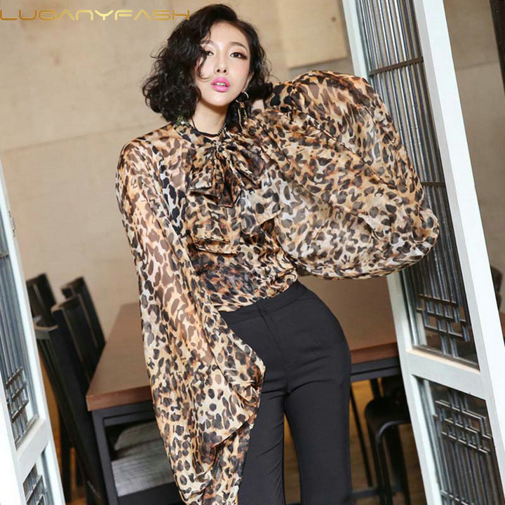 Luoanyfash Leopard Shirt Female Chiffon Lace Up Bow Lantern Sleeve Oversize Blouse Top For Women Summer Hollow Out Sexy Clothing
