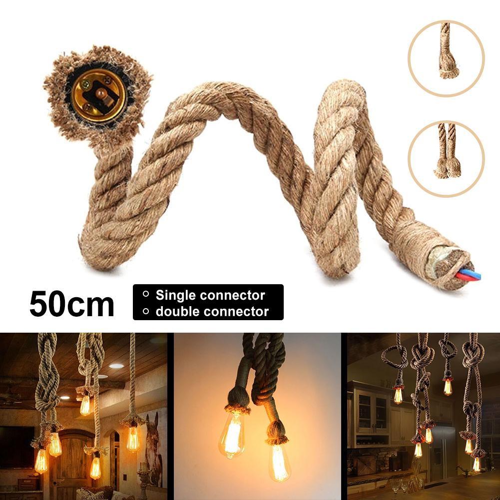 0.5m Vintage Industrial Single/Dual E27 Adapter Head Hemp Rope <font><b>Light</b></font> Cable Decor image
