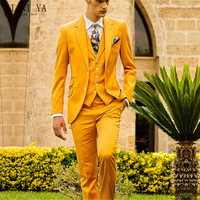 New Formal Business Groom Tuxedo Yellow Cotton Blended Wedding Suits for Men Slim Fit 3 Pieces Suits (Jacket+Vest+Pants)