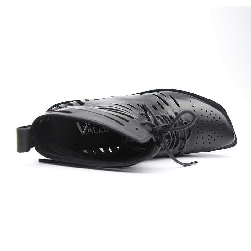 2019 VALLU yaz kadın çizmeler düz platformu hakiki deri Lace Up Hollow Out siyah artı boyutu yarım çizmeler bayanlar sandalet