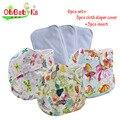Ohbabyka bebê absorvente forte trendy impresso pano fraldas de bolso fraldas de pano reutilizáveis 3 pacote com 3 inserções de tamanho ajustável