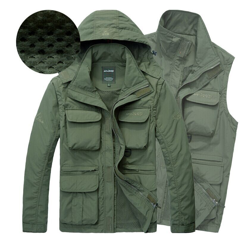 2018 multifunktionella jacka män varm försäljning man jacka stor casual dike höst bomull ytterkläder Tunna mesh snabbtorka 105