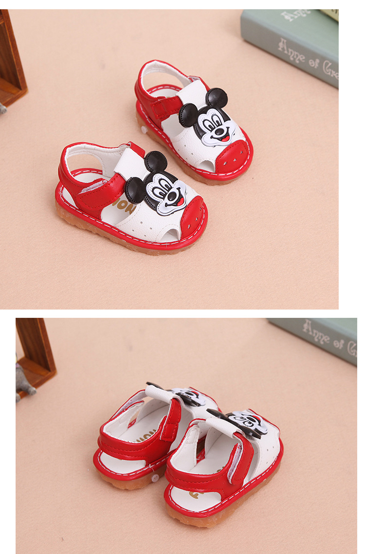 17 New Arrival Summer Baby boys Sandals mickey Toddler Kids soft sole Shoe baby singing shoes Baby girls Shoes Soft Leather 16