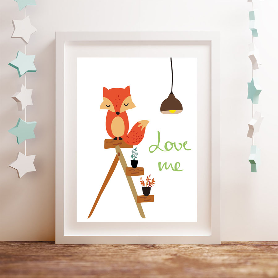 Animals Red Fox On The Cradle Love Me Quote Canvas Art Print Painting Poster Wall Pictures
