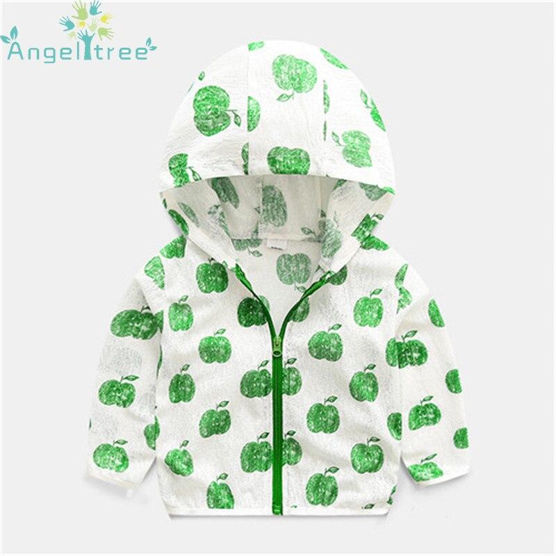 Angeltree 2018 Куртки на девочек и мальчиков для Для детей, малышей Верхняя одежда защиты от солнца ветровка детские пальто с капюшоном Костюмы