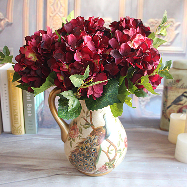 Wine red floral 1 bouquet artificial silk peony flower arrangement wine red floral 1 bouquet artificial silk peony flower arrangement hydrangea wedding decor party diy mightylinksfo Image collections