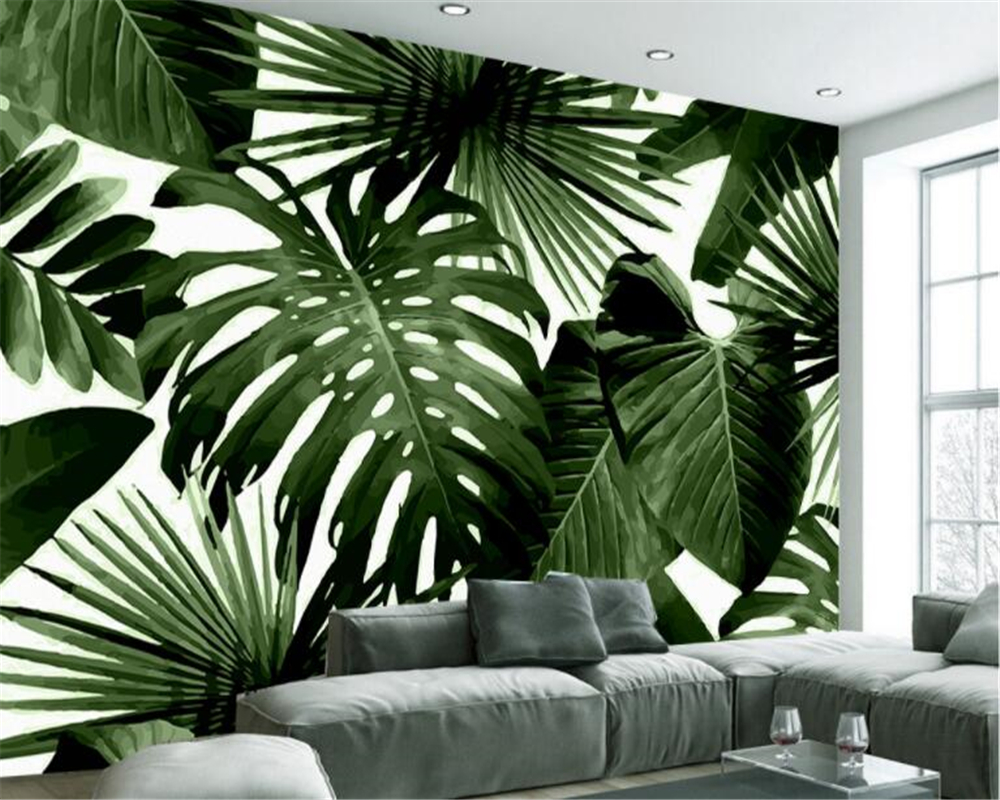 beibehang Classic retro wallpaper tropical rain forest palm banana leaf living room TV interior wall wallpaper for walls 3 d wallpaper for walls 3 d modern trdimensional geometry 4d tv background wall paper roll silver gray wallpapers for living room