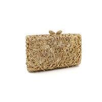 Fashion clip Clutch Handbag For Women Evening Party crystal diamond Shoulder Bags Casual Crossbody Bag Ladies Hard Case Box gold