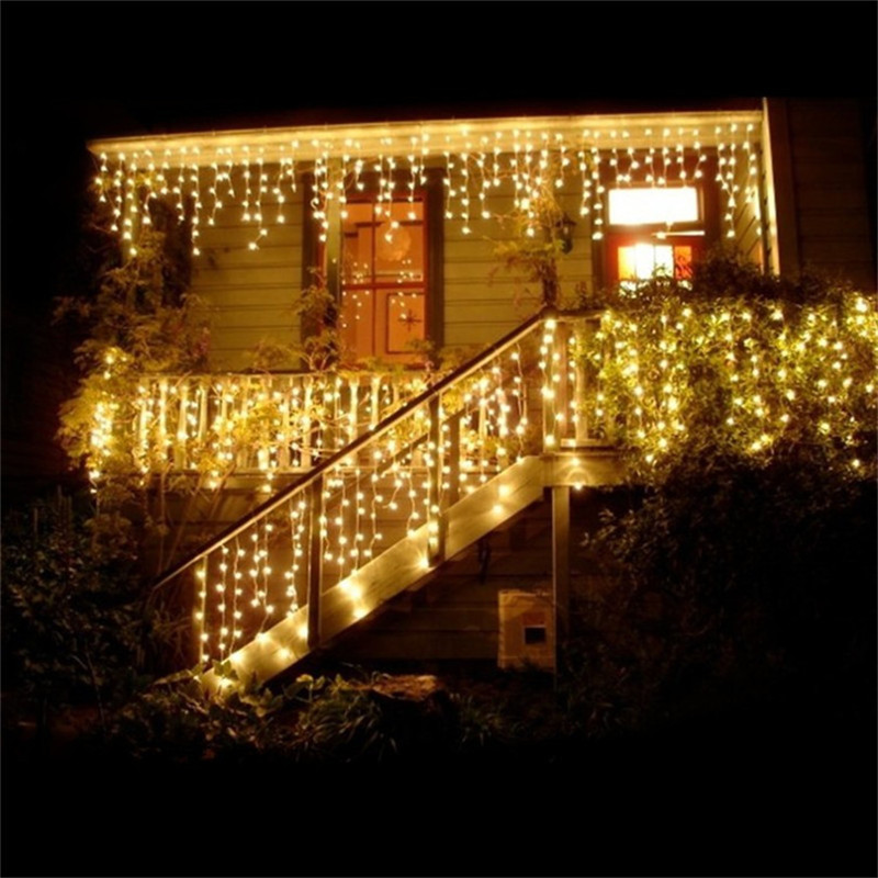 EU Or US Connectable 3.5M 96 Led Curtain Icicle String Fairy Lights Christmas Lamps Lights Xmas Wedding Party Decor Outdoor