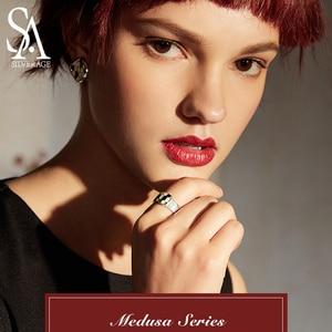 Image 2 - SA SILVERAGE แท้ Medusa Series 925 เงินสเตอร์ลิง Engagemant งานแต่งงานแหวนเงิน 925 สีชุบแหวนผู้หญิงเครื่องประดับ