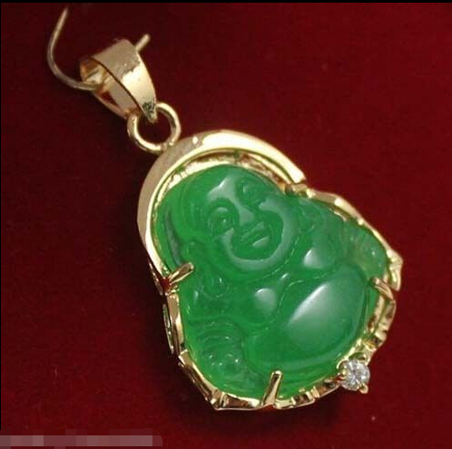 New Lucky Green Natural Jade Crystal Buddha Pendant & - Perhiasan bagus