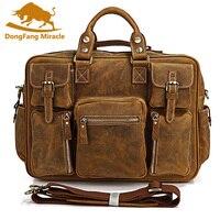 DongFang Чудо горячие 100% натуральная кожа Crazy Horse кожа Для Мужчин's Портфели ноутбук сумка сумочка