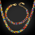 2016 New African Beads Jewelry Set Bracelet & Necklace Colorful Synthetic Coral Bohemian Jewelry Set For Women Gift NH1638