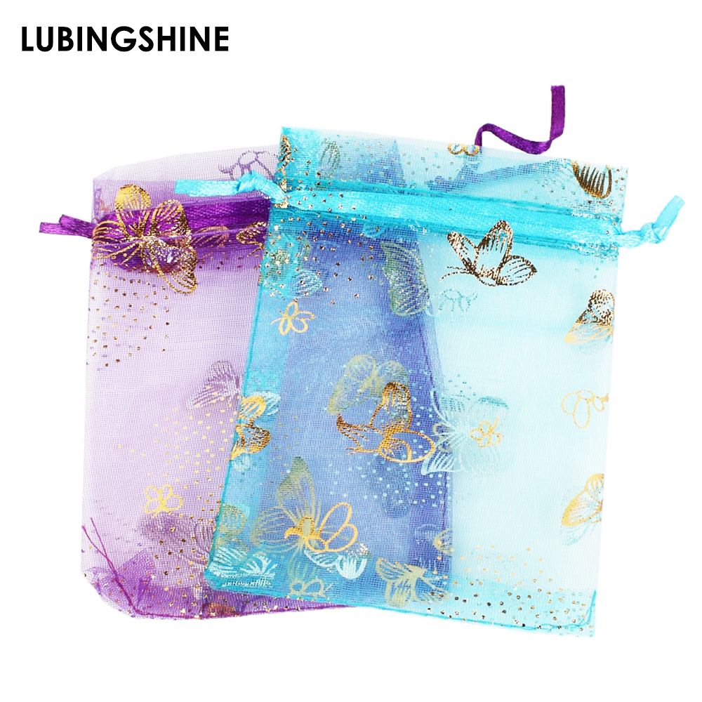 50pcs/lot Wholesale 9*12cm Christmas Wedding Voile Gift Bag Butterfly Organza Bag Jewelry Packing Drawstring Pouch Decoration