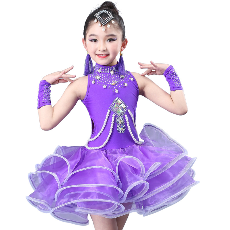Kid Beaded Rhinestone Tango Salsa Latin Ballroom Dance Tulle Dresses Sequin For Girls Dance Clothes Dancing Competition Costume