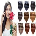 "7A Cheap American Real Remy Clip in Human Hair Extensions 1# 70g-200g 7PCS Brazilian Straight Clip In Hair Extensions 16""-26"""