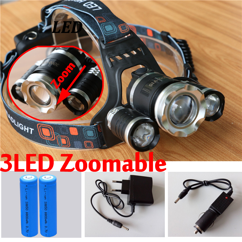 LED Headlight XM-L T6+2R 6000LM Zoomable CREE LED Headlamp Headlight Camping Lamp Head Light+Ac/CAR Charger+18650 Battery led headlamp cree xm l t6 led 2000lm rechargeable head lamps headlights lamp lights use 18650 battery ac charger head light