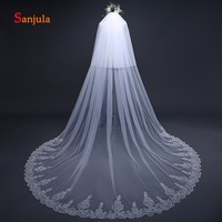 Cathedral Wedding Veil for Bridal Lace Appliques Edge Two Layers Long Bride Veil with Face Veil Wedding schleier hochzeit V14