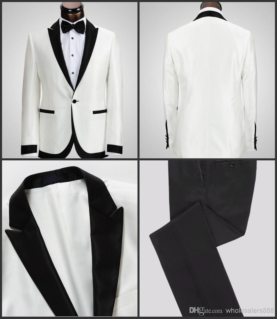 2017 White Jacket Black Pants One On Groom Tuxedos Best Man Peak Lapel Groomsman Men Wedding Suits Bridegroom Pant In From S Clothing