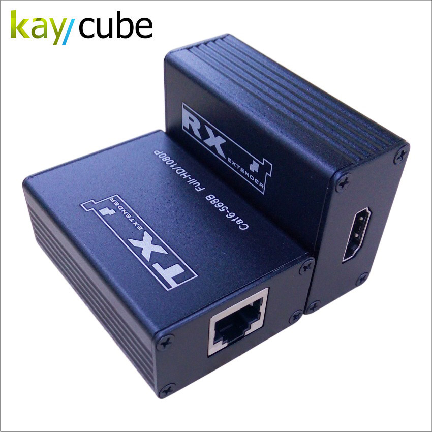 Kaycube 30M HDMI Over Single RJ45 CAT5E CAT6 Passive 1080P HDMI Extender Repeater 3D For HD-LCD CCTV, DVR, NVR No Power Need