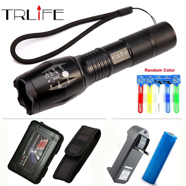 Super bright E17 -T6 LED Flashlight 5 Modes 9000 Lumens Zoomable LED Torch 18650 Battery+Charger+Hoster+box+free gift z30 super bright led flashlight torch 3pcs xml t6 3000lumen 5 modes switch power by 3x 18650 battery led light camping box