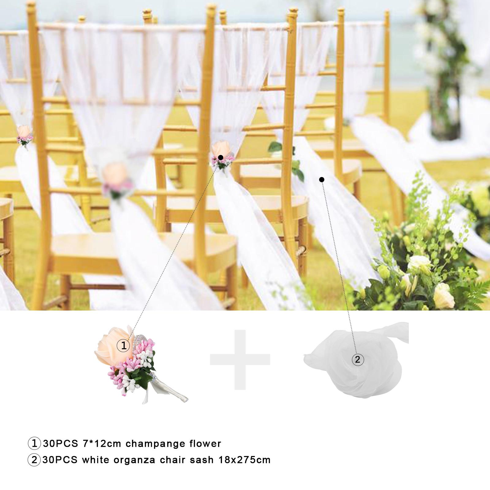 Spiaggia tema di nozze 30 pz bianco della Sedia del Organza Fiocchi e Fasce con il bianco Champagne fiore di rosa per la Cerimonia Nuziale Del Partito Banchetto della Sedia Decorazione - 3