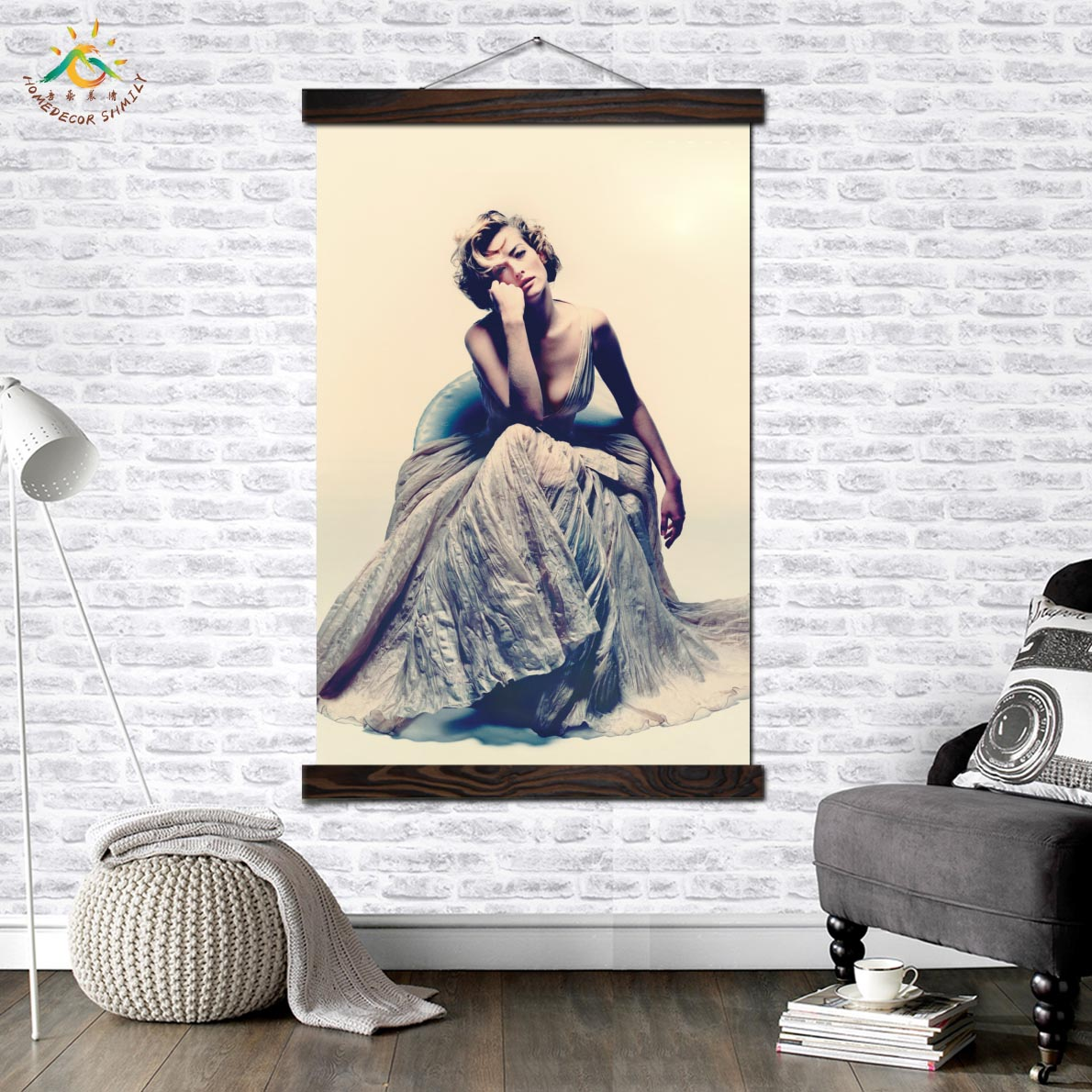 Fashion Modern Dressed Woman Art Print Poster Classic Scroll Canvas Picture Painting Artwork Wall Home Decoration