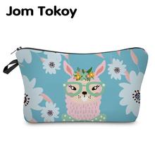 Jom Tokoy Cosmetic Organizer Bag Make Up Printing Llama Cosmetic Bag Fashion Women Brand Makeup Bag Hzb936 jom tokoy 2018 3d printing unicorn cosmetic bag fashion women brand makeup bags