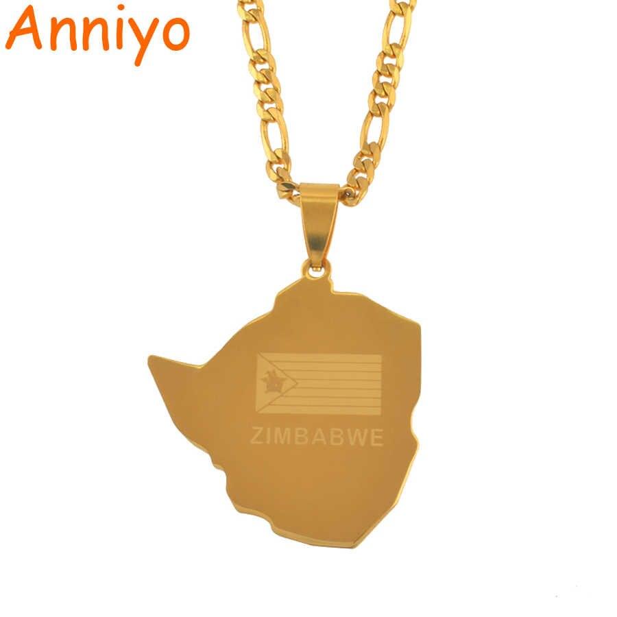 Anniyo mapa Zimbabwe wisiorek naszyjniki biżuteria dla kobiet mężczyzn złoty kolor mieszkańców Zimbabwe i aktualną pogodę lub przeczytaj ostatnie naszyjnik afrykański #043721