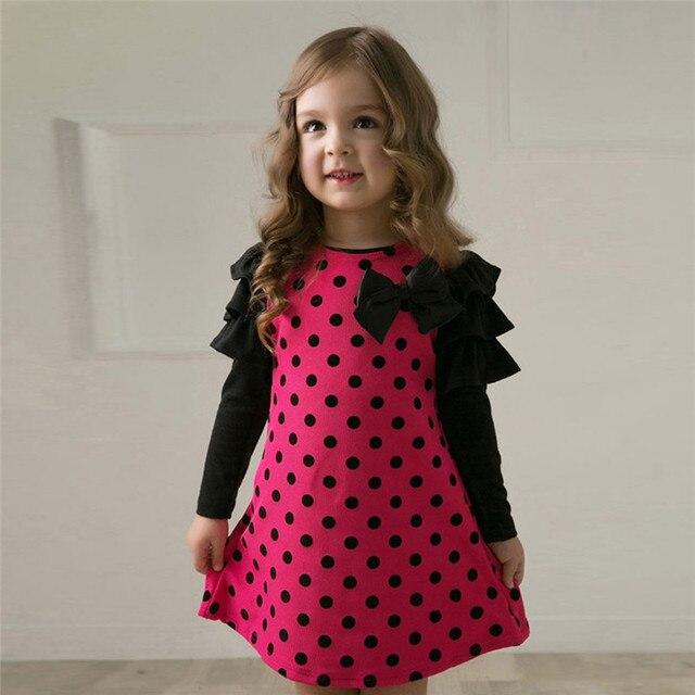 Nieuwe 2017 Lente Dot Kid Meisjes Jurken/Kinderkleding Prinses Gaas Lolita Stijl Lange Mouwen Strik 4-7 Jaar