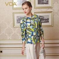 VOA бренд 100% чистого шелка Для женщин футболки Camisetas Mujer Verano одежда с длинным рукавом принт специальная конструкция О образным вырезом 2018 Нова