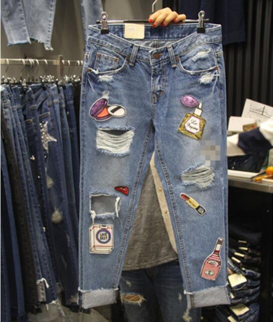 Primăvara toamnă personalitate gaură paiete blugi femei patch moda - Îmbrăcăminte femei - Fotografie 1