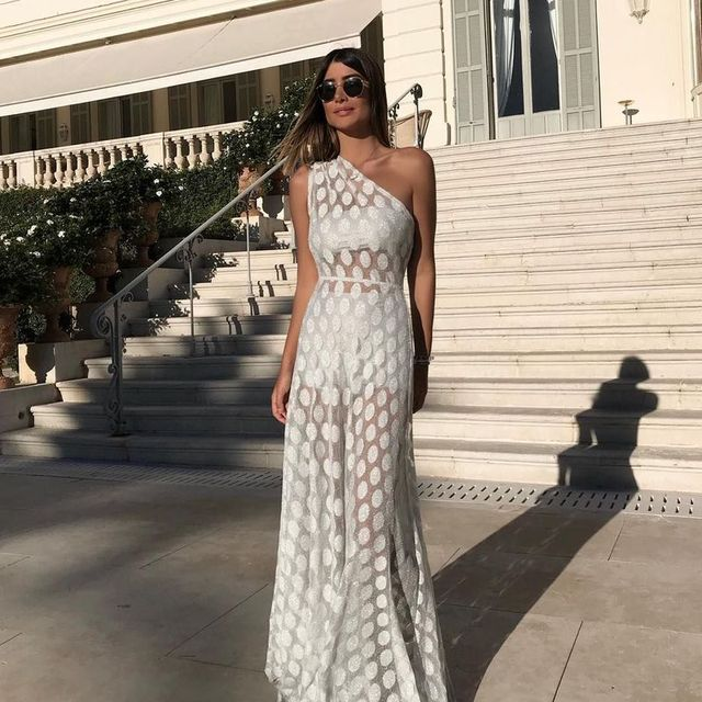 Maxi Long White Boho Chic Woman sexy Perspective Dress 2