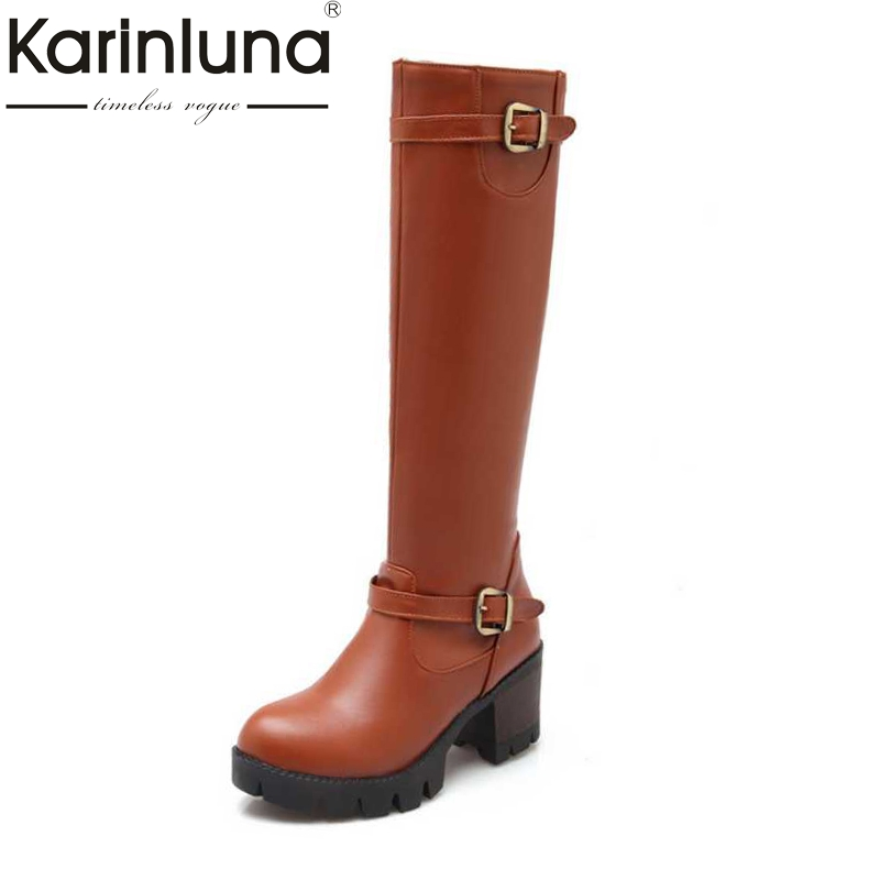 KarinLuna High Quality Autumn Winter Women Knee High Boots Buckle Platform Female Shoes Big Size 34-43 Side Zipper Boots