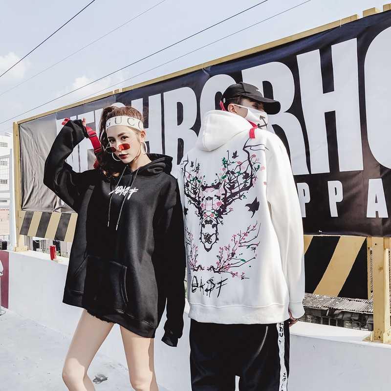 2018new осень и зима свободные влюбленные тонкий стиль толстовка с капюшоном для женщин свободный хип хоп Толстовка