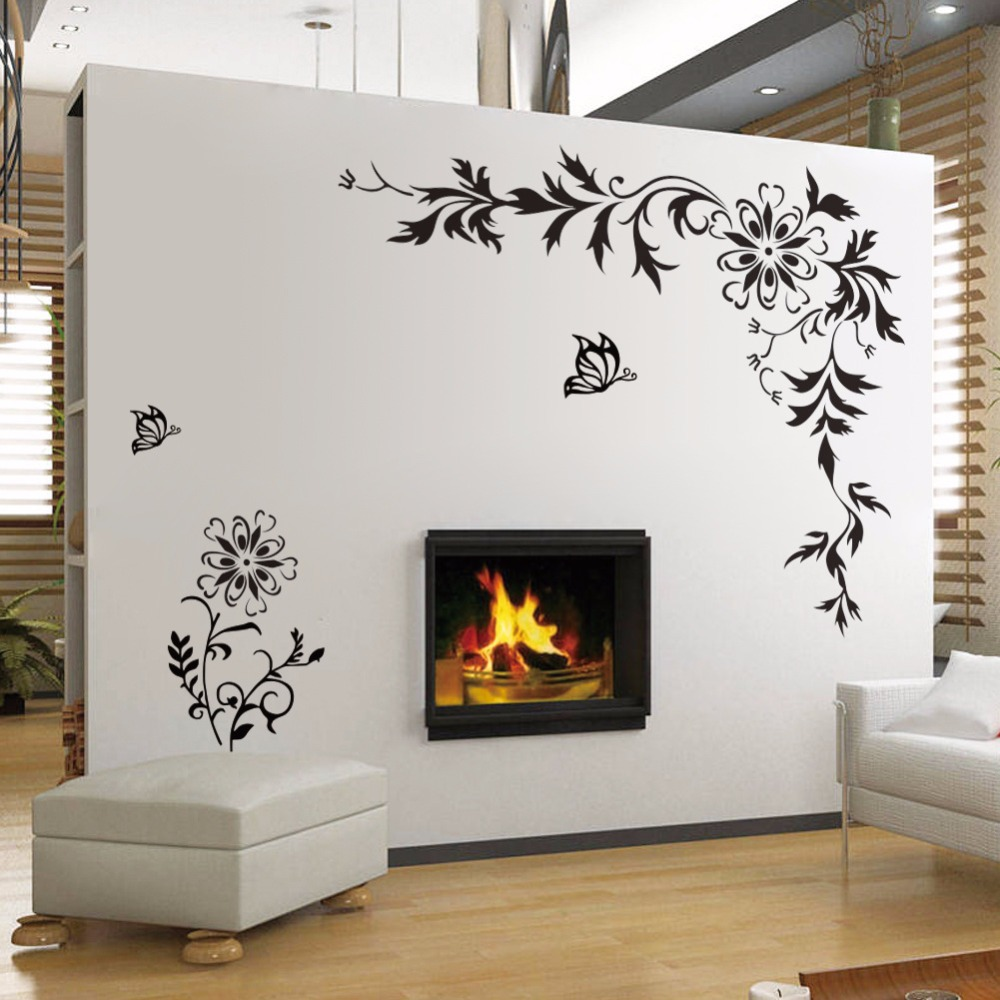 Beautiful flower vine wall sticker butterfly floral vinyl for Stickers para pared