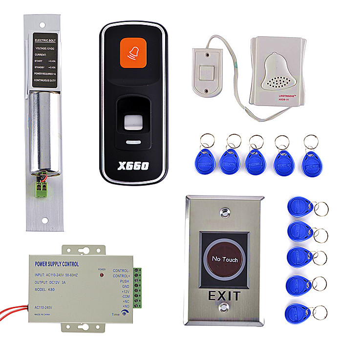 Door Lock +NO Touch Door Switch +DIY Fingerprint 125KHz RFID ID Card Reader Door Access Control System Kit biometric fingerprint access controller tcp ip fingerprint door access control reader