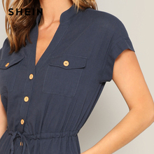 Cap Sleeve Front Button and Pocket Jumpsuit