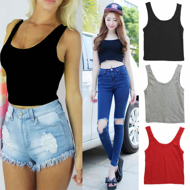 58cab50086fb9 New Hot Fashion Sexy Womens Scoop Neck Crop Belly Top Vest Sleeveless  Midriff Shirt Blouse Tank