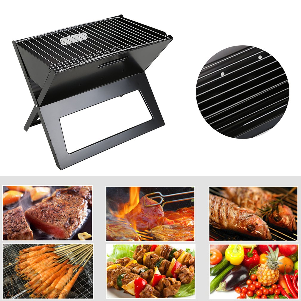Foldable Barbecue Grill Folding Portable Charcoal BBQ Stove Box For Household Outdoor Camping Picnic Party Easy Storage Carry hewolf portable size outdoor camping beach bbq barbecue grill rack household use lightweight folding picnic rack stand well sell