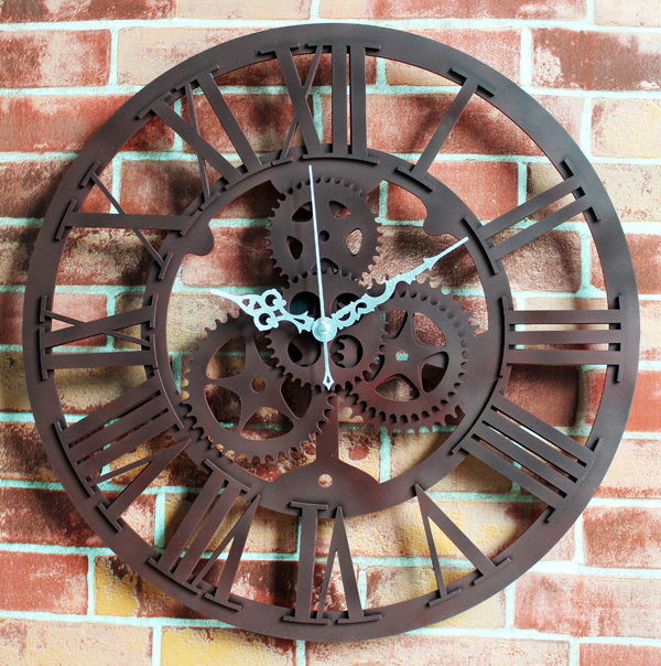 large rustic wall clock Black retro rustic personality big luxury vintague gear wall  large rustic wall clock